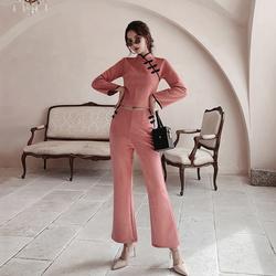 JKJS旗袍上衣女改良版时尚复古盘扣少女短款中国风唐装套装两件套