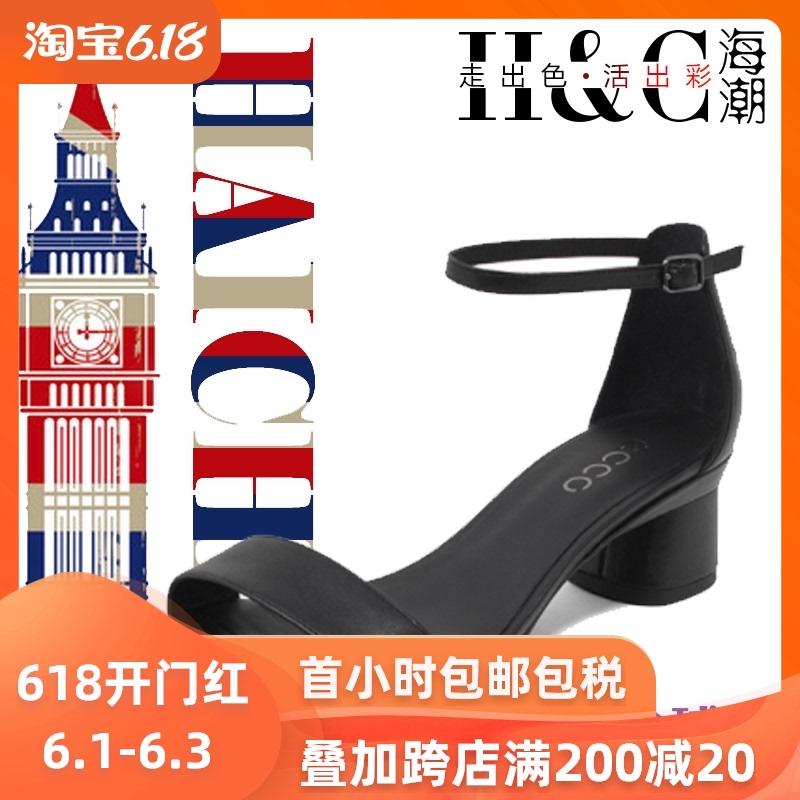 ECCO爱步女鞋2020新款 一字带正装高跟鞋粗跟凉鞋290103正品代购