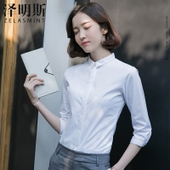 衬衫女白色七分袖小领职业中袖韩版正装工作服工装衬衣女夏职业装
