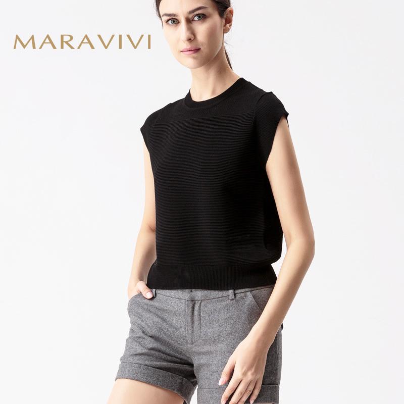 玛洛薇夏季新款天丝圆领套头宽松镂空薄款冰丝短袖针织衫T恤女夏