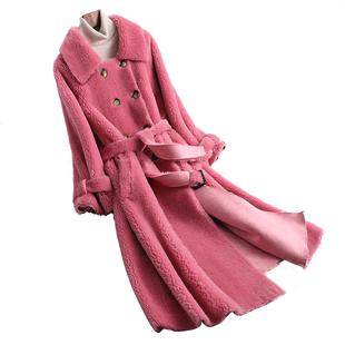 新雙排扣羊剪絨大衣女皮毛一體羊羔毛皮草外套中長款韓100純羊毛