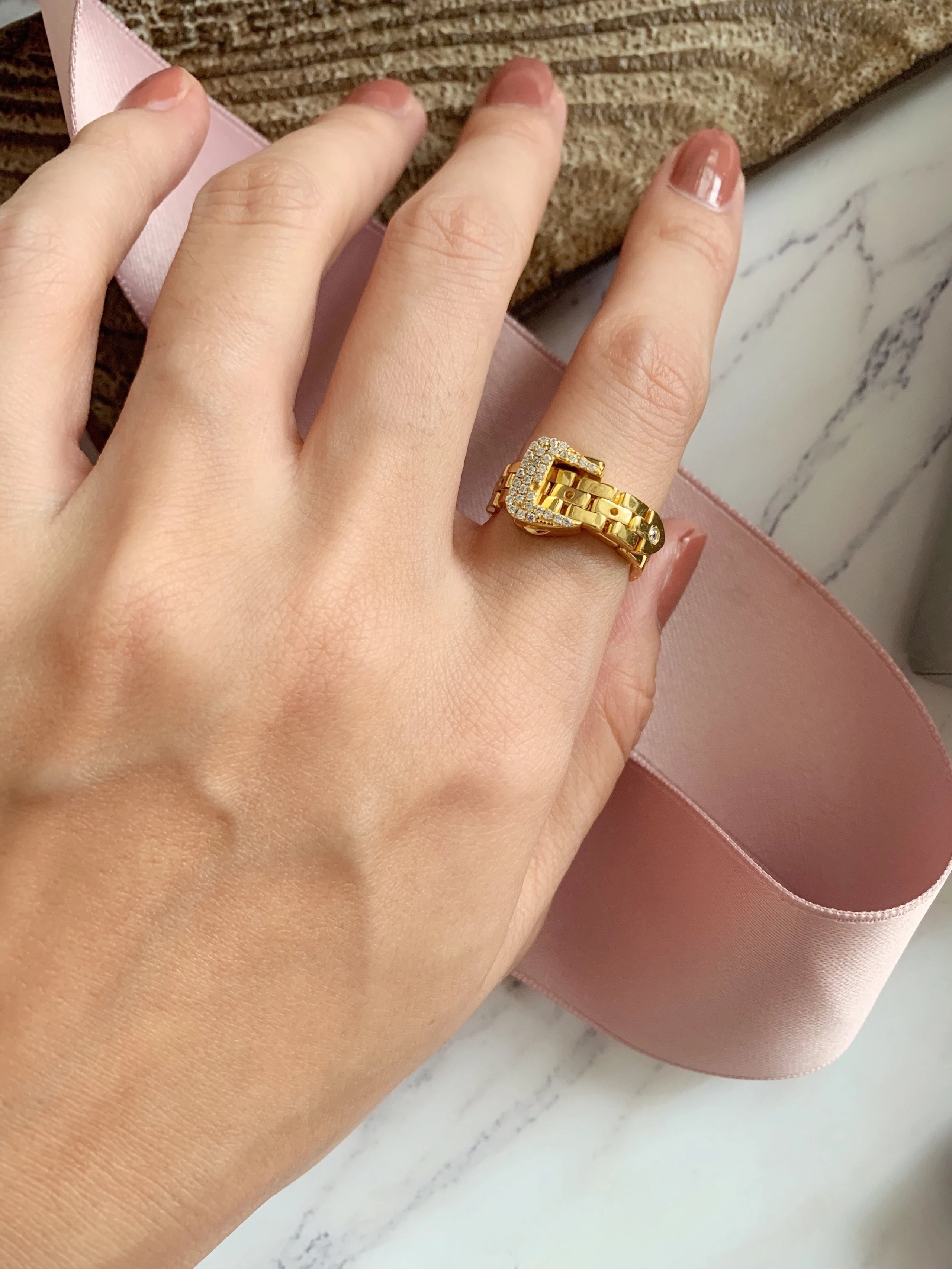 Canadian niche designer brand buck up chain tie ring female adjustable gentle cool girl