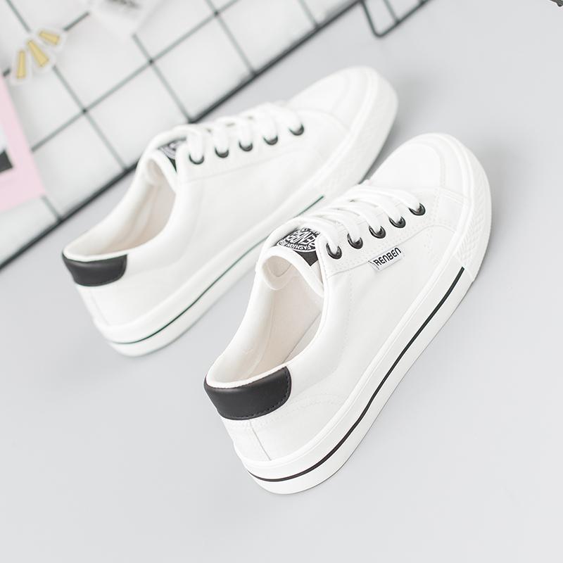 �D品白色帆布鞋女2018春季新款学生韩版百搭小白鞋平底布鞋女鞋子