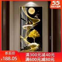 入戶進門玄關裝飾畫走廊過道豎版壁畫現代簡約客廳輕奢風晶瓷掛畫