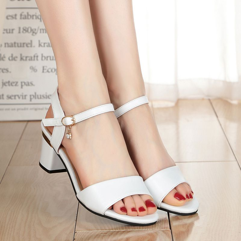 Summer 2020 new wide heeled off toe high heeled womens sandals all fit small size Roman medium heel womens shoes