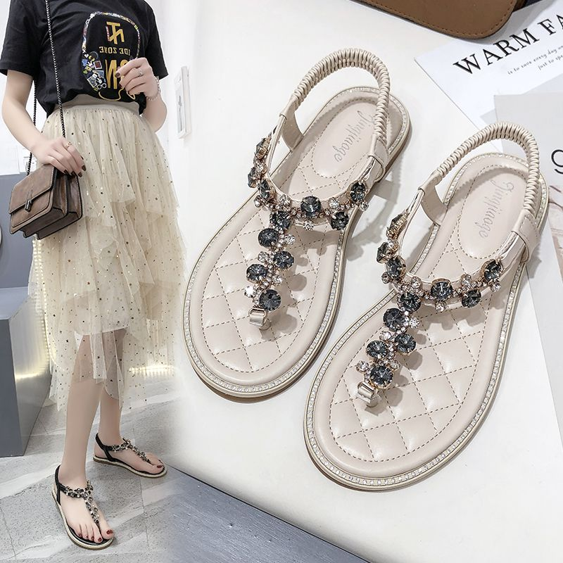 Sandal fairies 2020 new spring and summer net red versatile womens shoes fashion Rhinestone flat toe Roman shoes trend