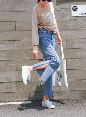 118#牛仔裤新款宽松显瘦九分裤百搭开叉喇叭阔腿裤限价不能低于49