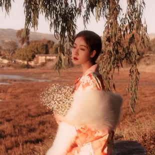 山鳥和色日式和風浴衣少女復古連衣裙改良和服 緋紅