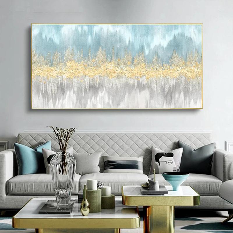 簡約現代客廳沙發背景墻裝飾畫抽象輕奢金箔掛畫橫版臥室床頭壁畫