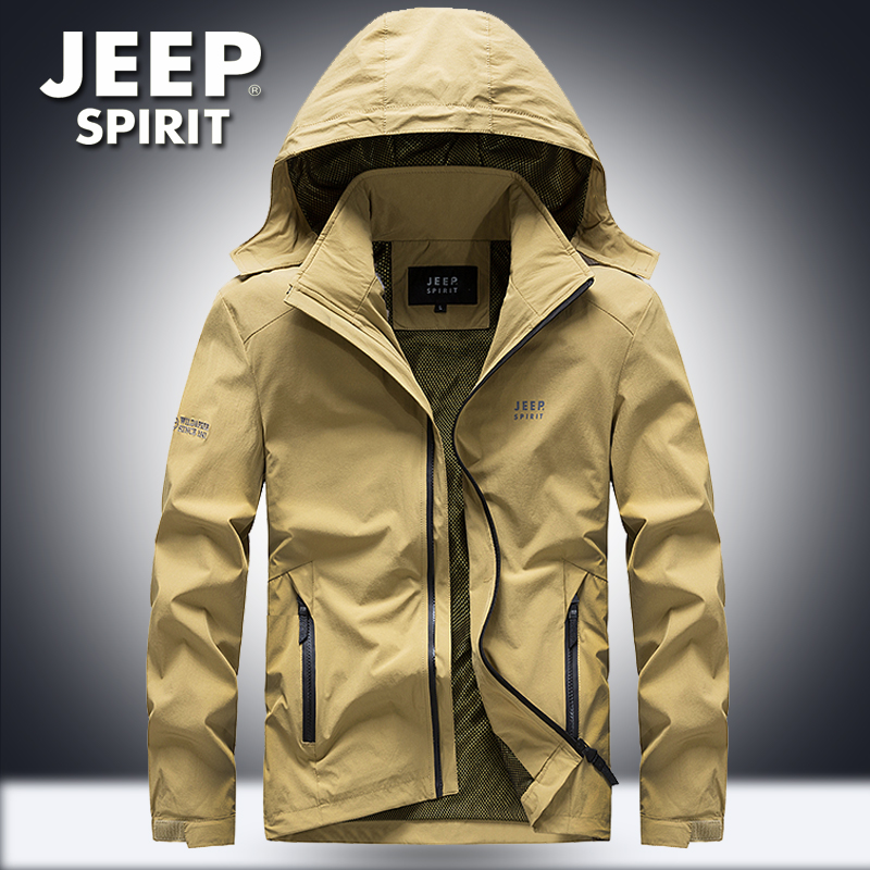 Jeep Jeep mens casual jacket spring and Autumn New Youth mid long outdoor sports windbreaker coat