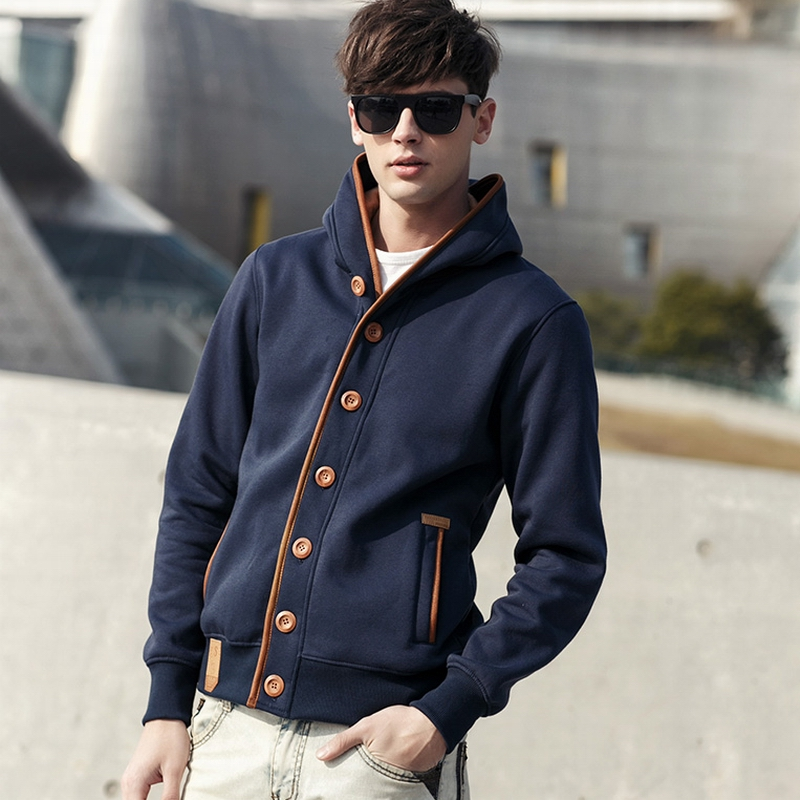 Spring and autumn new mens leisure sweater college style Hooded Sweater mens fashion Hoodie mens European and American sweater coat mens fashion