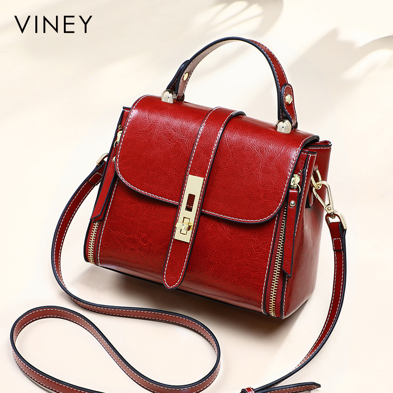 Bag womens messenger bag 2021 new fashion leather foreign style single shoulder bag fashion versatile red popular portable bag
