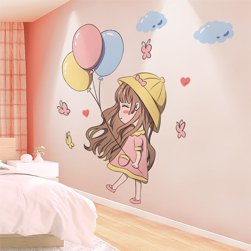 卧室公主床头布置ins少女装饰墙纸