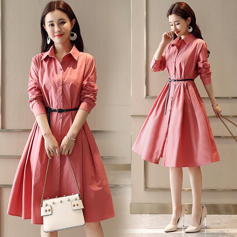 2018新款女装秋装韩版长袖纯色衬衫裙中长款打底连衣裙修身a字裙