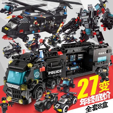 儿童装甲车樂高积木拼装玩具益智男孩子9军事6警察系列68岁10坦克