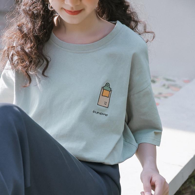 蚂蚁q娃韩版短袖T恤女2020年夏季新款宽松日系原宿风纯棉上衣潮图片