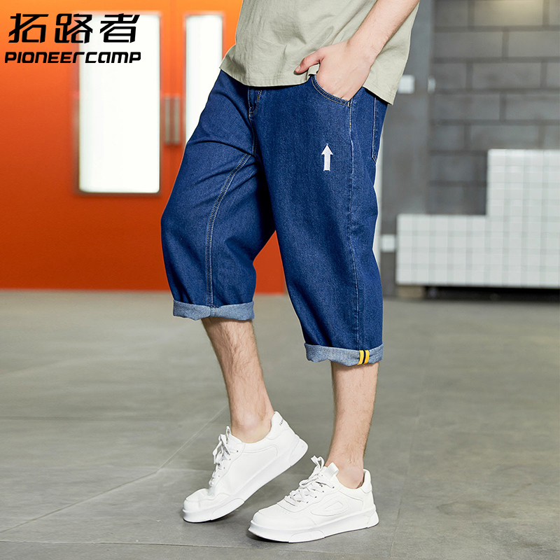 Blazer jeans mens Capris loose straight tube washed and worn trousers arrow embroidery decoration summer 2019