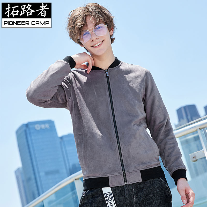 Toread 2018 new mens jacket spring and autumn suede baseball uniform mens autumn handsome standing collar jacket mens wear