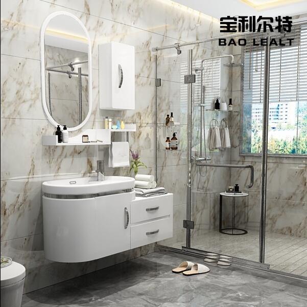 浴室柜组合洗手台盆卫浴柜洗脸盆洗漱柜窄小户型简约现代整体圆弧