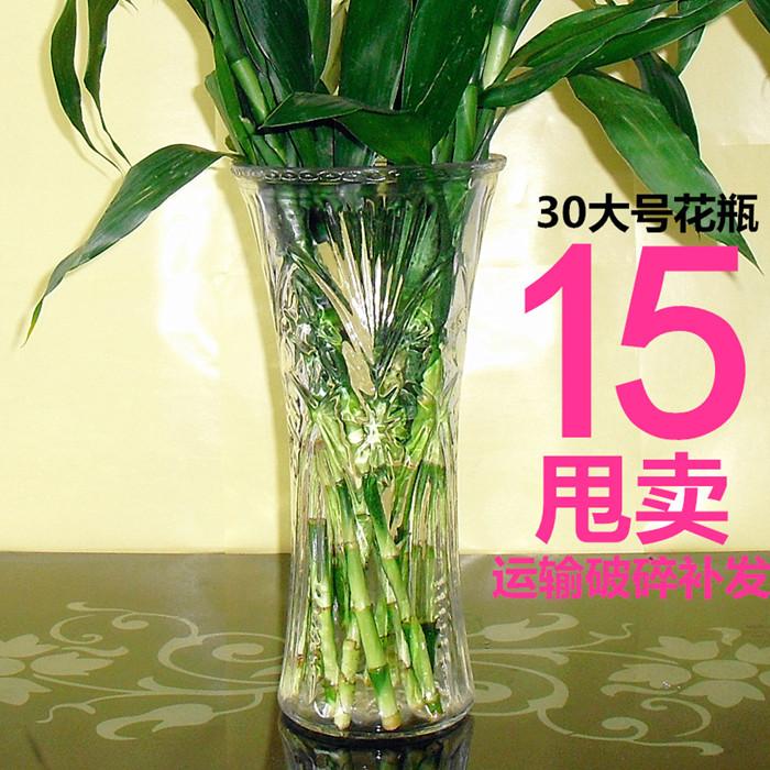 花瓶透明玻璃卧室客厅简约插花器摆件水培百合富贵竹大号水竹花瓶