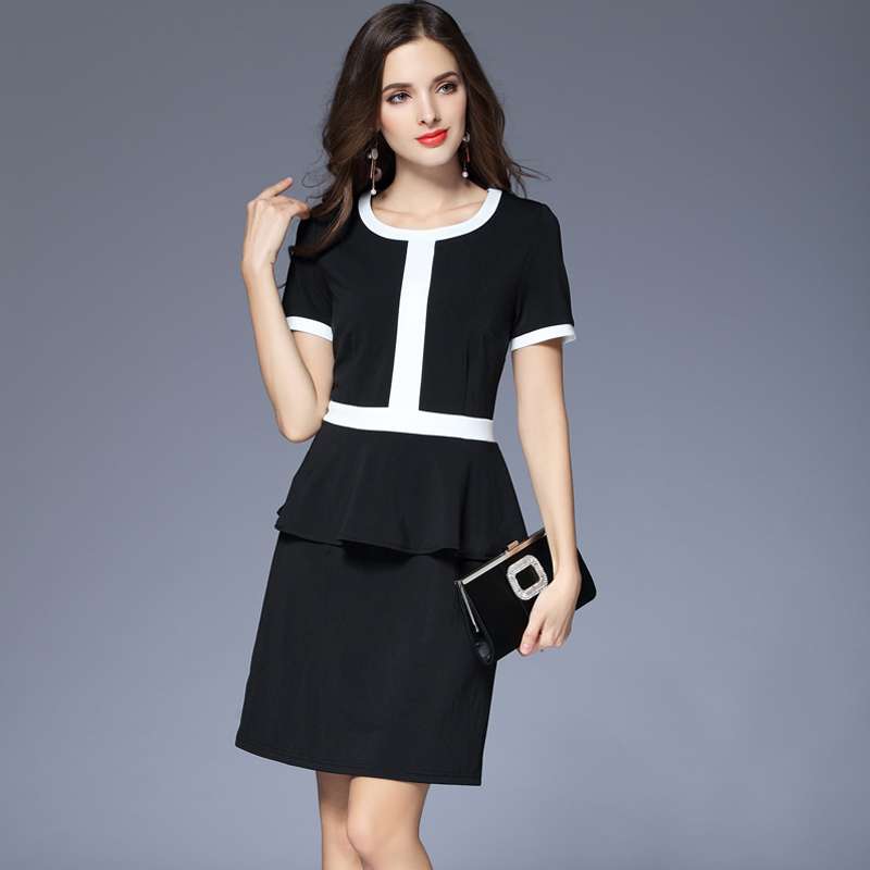 Black and white knitted commuter professional large one-step skirt 2020 new womens summer short sleeve fake two-piece dress