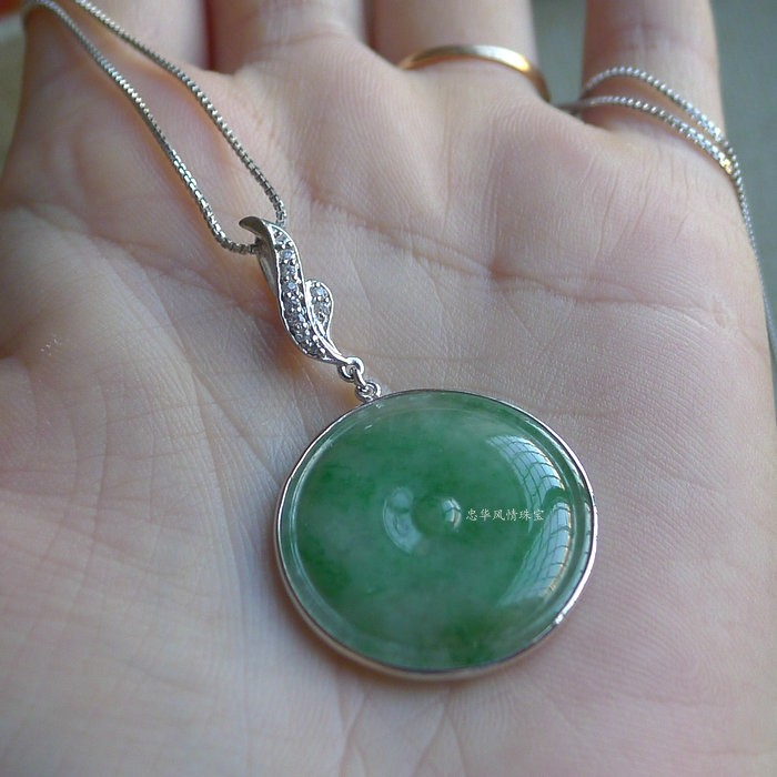 FFC jewelry natural jade pendant womens a goods Myanmar jade green safety buckle Pendant Brooch dual-purpose special offer