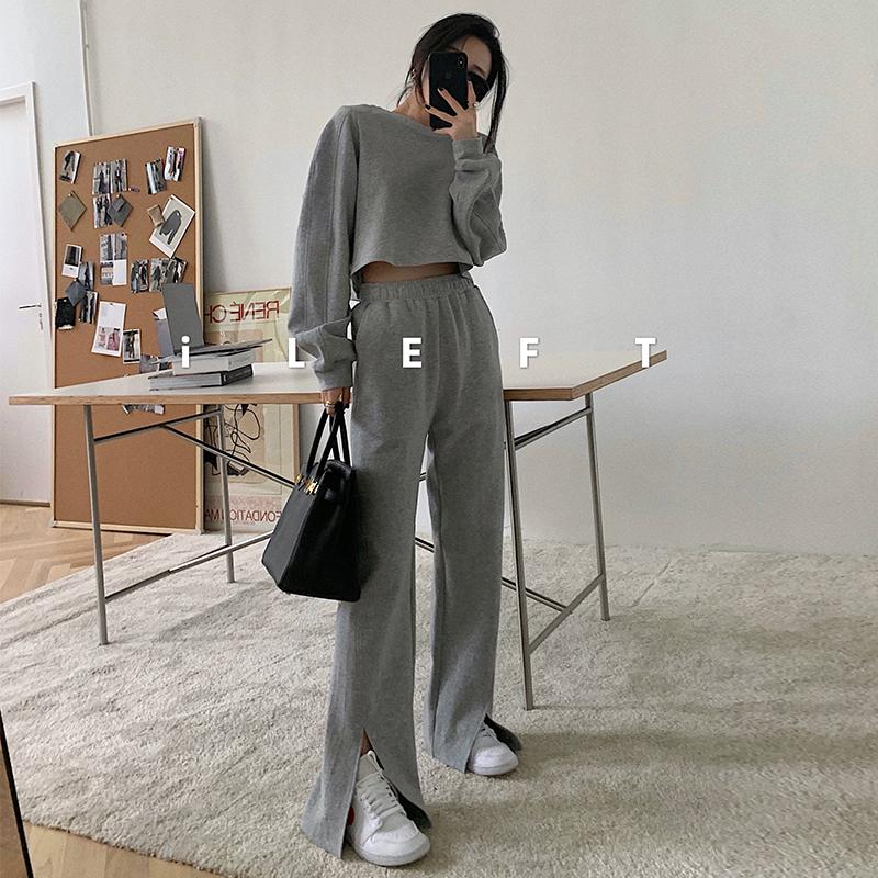 左边女装美式休闲运动套装2021早春新款卫衣+开叉阔腿裤三件套