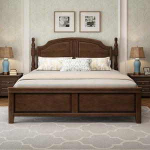 简美风格乡村美式1.8米轻奢实木床