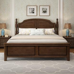 简美风格乡村美式实木床1.8米双人床轻奢主卧室1.5m现代简约家具