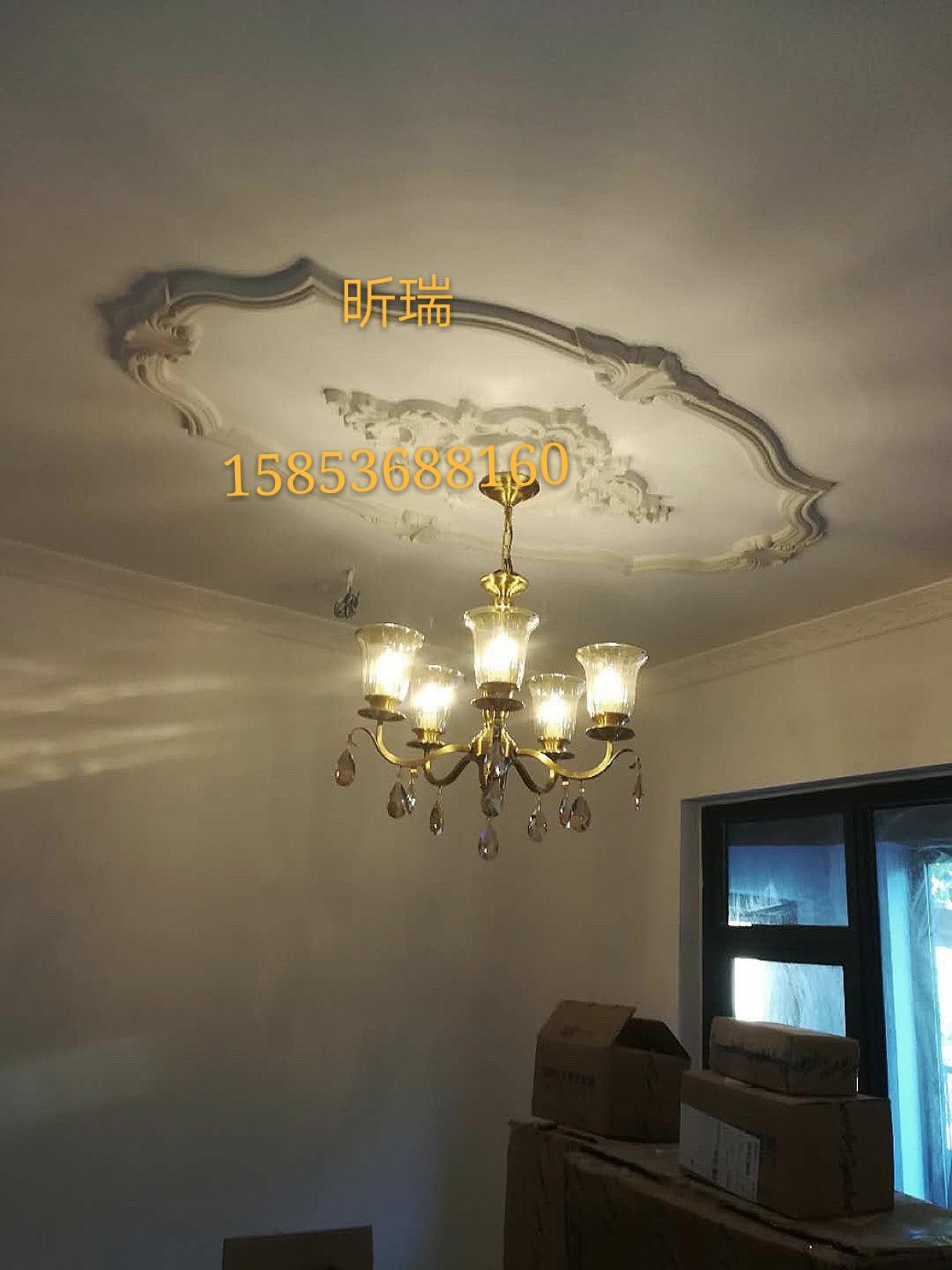 欧式石膏灯圈灯池灯盘灯饰材料天花吊顶材料屋顶花角墙画石膏线