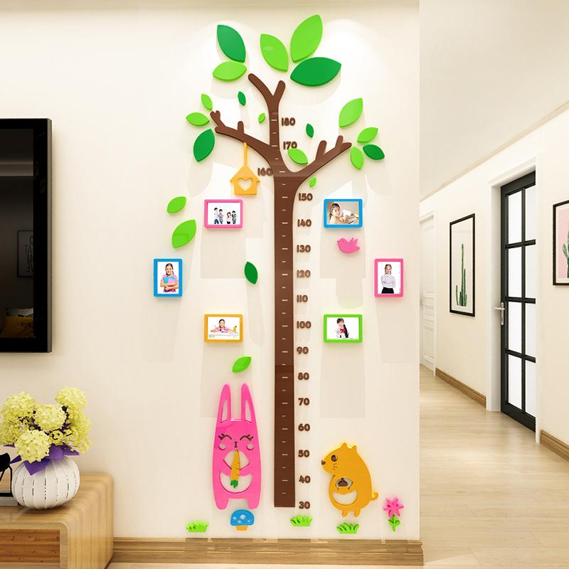 身高墙贴亚克力3d立体幼儿园宝宝卡通兔子测量身高尺儿童房间布置