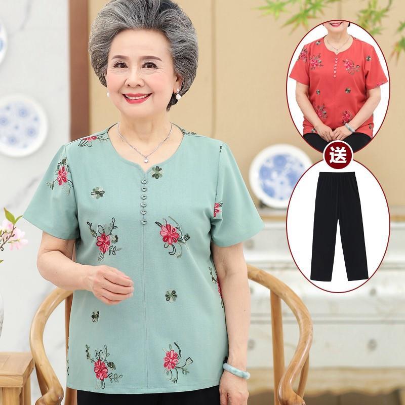 2018奶奶夏装短袖两件套中老年人女装T恤60708岁老人衣服妈妈棉麻