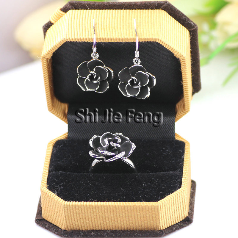 品牌首饰丽晶饰品韩版复古水晶玫瑰花耳环耳钉食指戒指套装女礼物