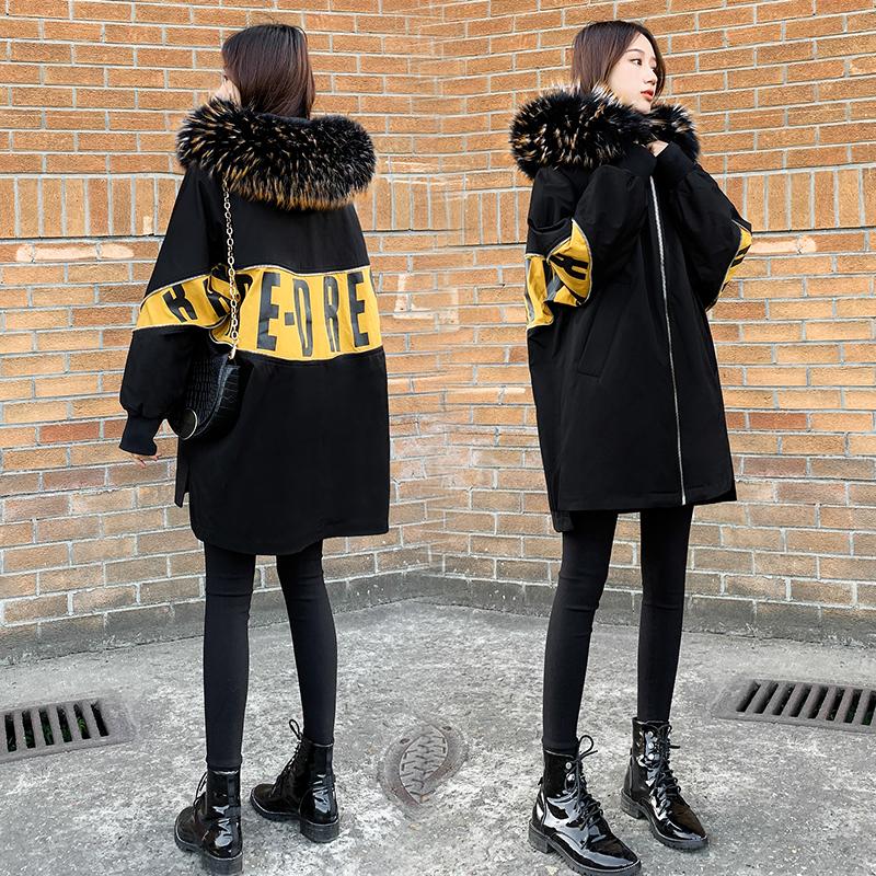 2020冬季新款连帽大毛领中长款羽绒服女宽松加厚时尚茧型黑色外套