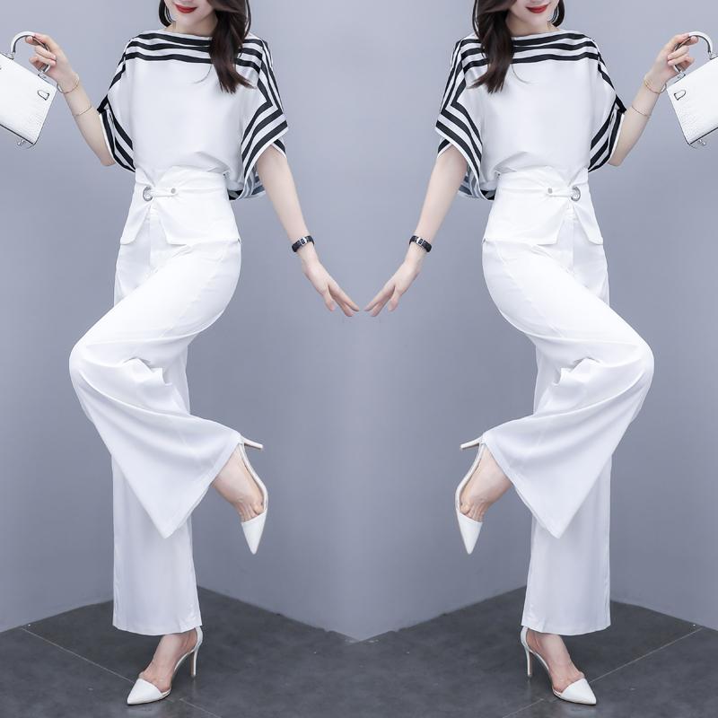 套装女2021年夏季新款雪纺衫搭配阔腿裤长裤显高减龄休闲时尚洋气