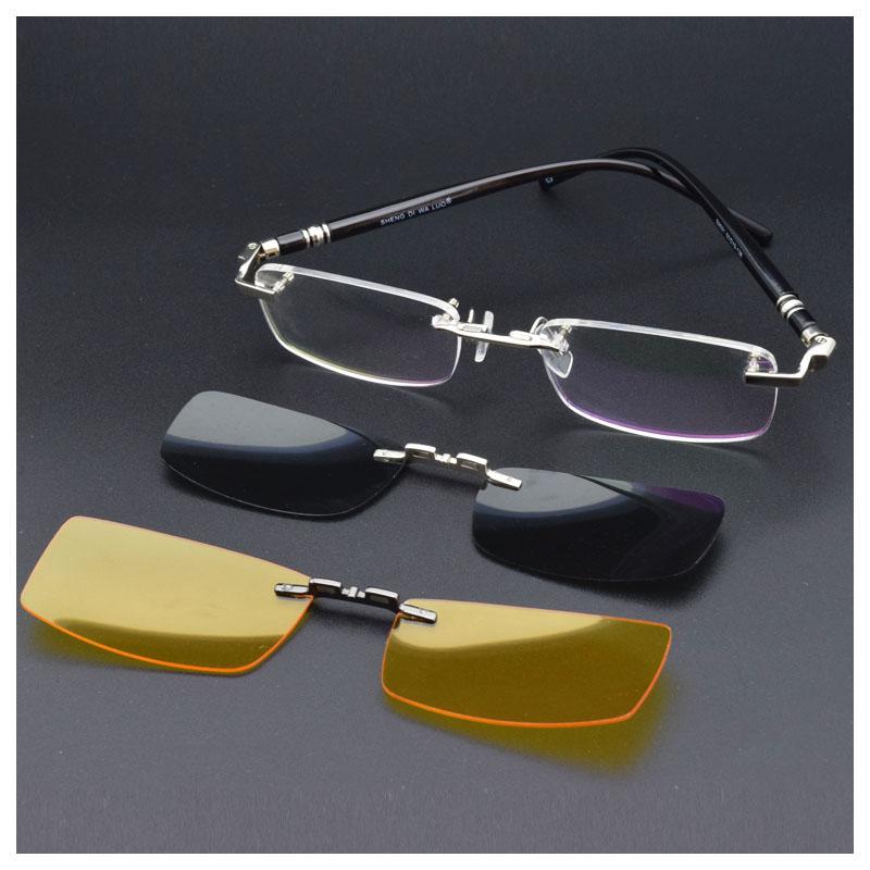 无框眼镜套镜磁磁铁偏光夹片近视眼镜配墨镜片小框无边框吸附金色