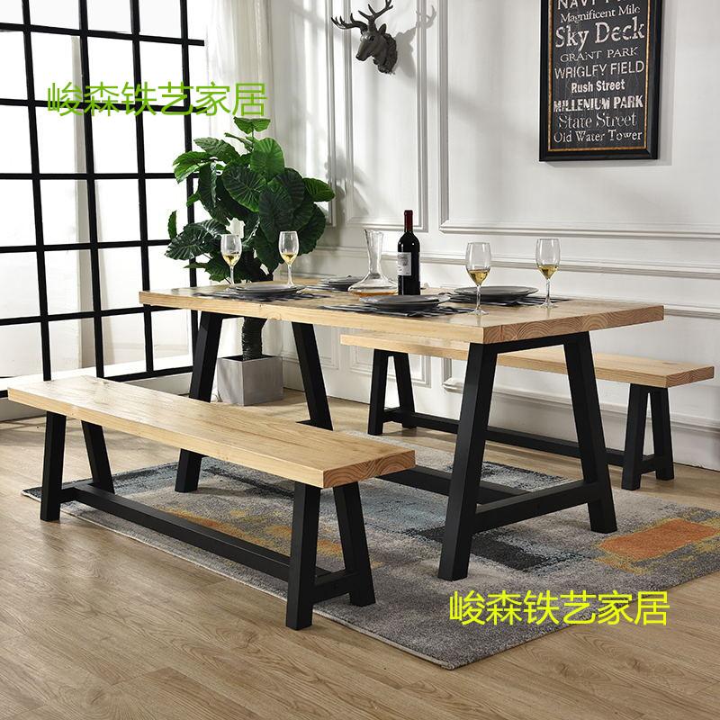 新しい中国式の鉄芸の実木の食事のテーブルとテーブルのセットは事務机のコーヒーの木のテーブルのアメリカ式田舎の復古の簡単なお茶のテーブルを浸します。