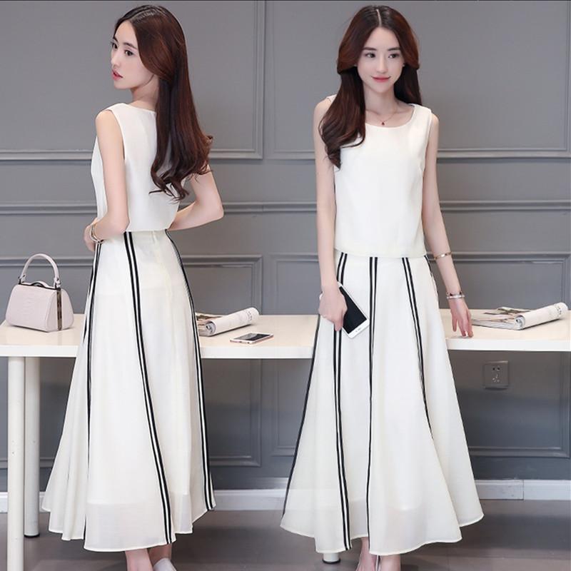 夏新款纯色条纹修身显瘦时尚文雅气质欧根纱背心半身长裙两件套装