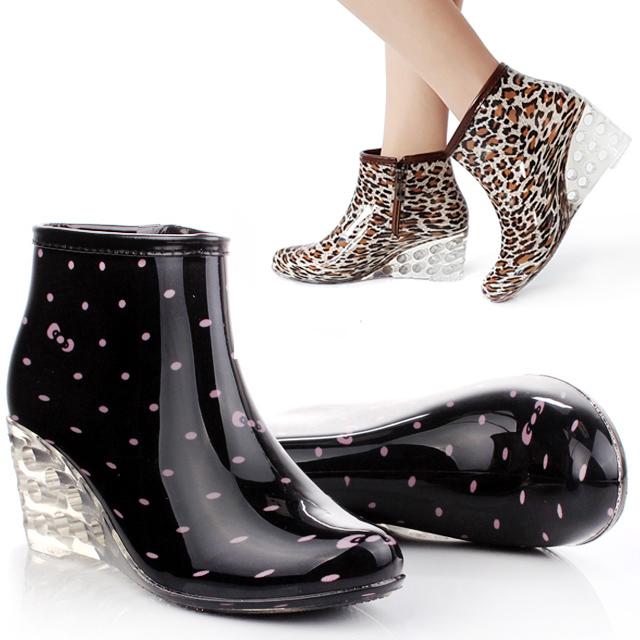 时尚女士防滑雨鞋雨靴韩国短筒加绒可爱女款高跟水鞋成人防水套鞋