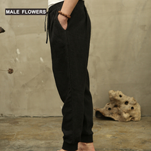 Flax trousers, men's casual trousers, loose fashion sports trousers, leggings, trousers, Hallen trousers, cotton flax trousers, Chinese-style men's trousers