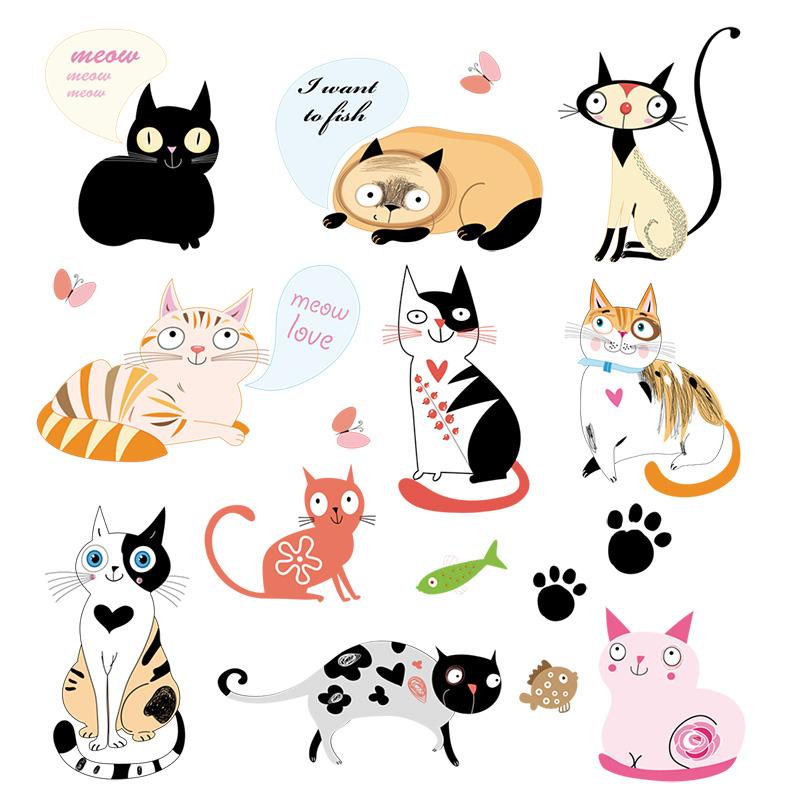 厨房橱柜装饰冰箱贴纸个性创意卧室家具装饰墙壁贴纸卡通猫咪墙贴,可领取1元天猫优惠券