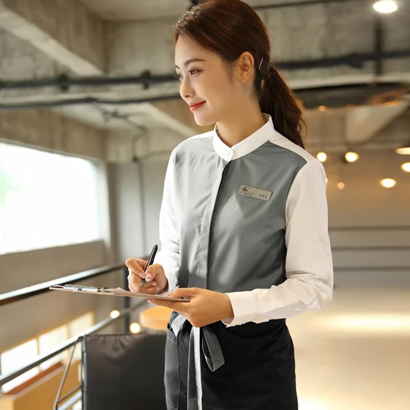 奶茶火锅酒店服务员工作服长袖西餐饮前台收银咖啡厅立领秋冬装女