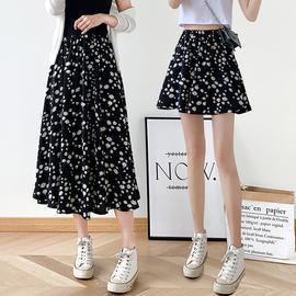 小雏菊半身裙女夏a字黑色短裙高腰2020年新款雪纺中长款碎花长裙