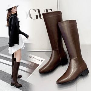 X-24994# 韩国老板娘同款软皮INS网红长靴后拉链高筒靴现货 鞋子批发女鞋货源