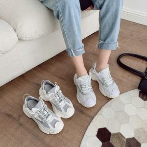 真皮老爹鞋女小白鞋2020秋季韩版新款松糕休闲运动鞋 230-11