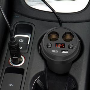汽车12V-24V杯型杯式车载充电器双usb车充多功能点烟器手机充电器
