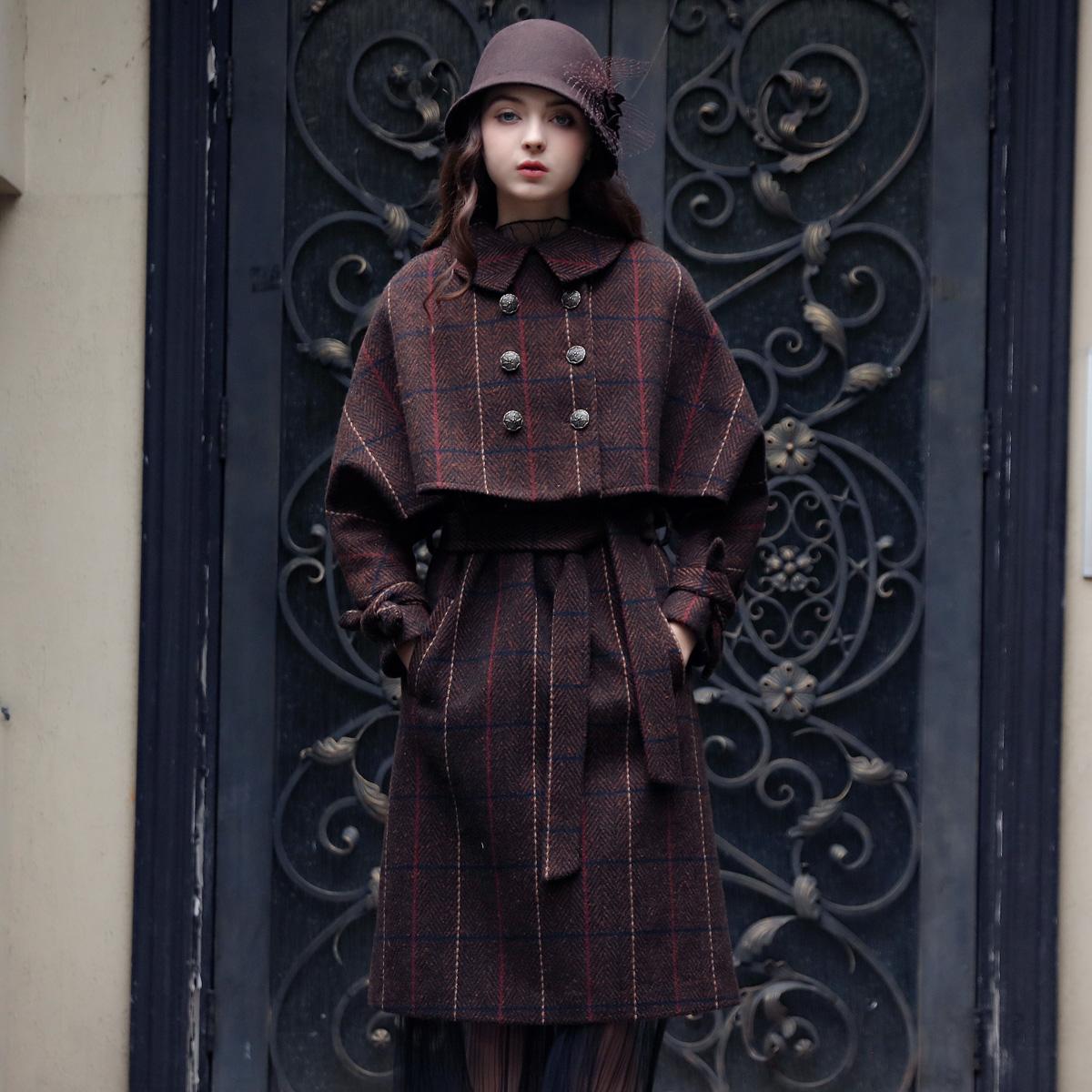 欣裁 新品复古学院风格子两件套毛呢连衣裙蝙蝠袖斗篷外套女