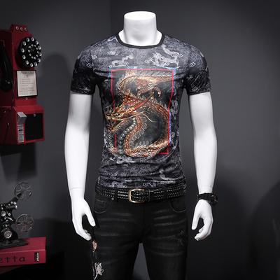 2018夏季 潮男个性暗花 国风高品质 天丝短袖T恤M5131-P55控价78