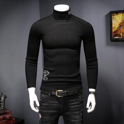 2018冬季新款 男士时尚字母提花 保暖高领羊毛衫T8005-P125