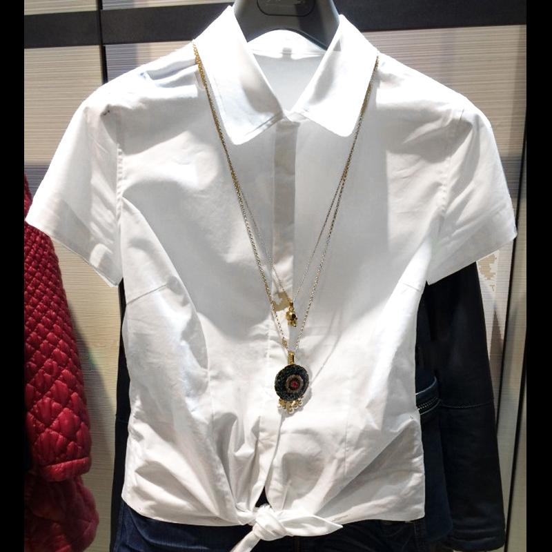 职业阿玛施特旗舰店官网国内2018夏新款正品代购女装修身短袖衬衫